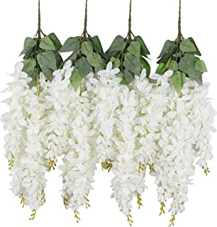 Duovlo Silk Wisteria Flower Artificial 2.13 Feet Hanging Wisteria Vine Fake Flower Bush String Home Party Wedding Decoration,Pack of 4(White)