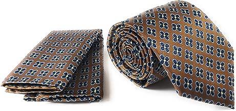 Silk Necktie and Pocket Square Set - Burnt Orange with Navy Blue Flower Design