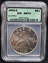 1992 D Olympic Baseball BU Commemorative Silver Dollar MS70 - The Perfect Coin - ICG