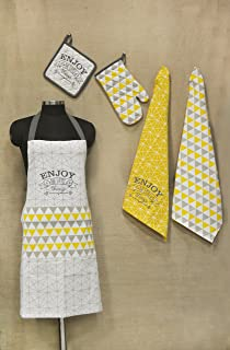 "R Home Printed Cotton Chef's Apron Set with Mitten, Pot Holder and Kitchen Towels, Yellow Kitchen Linen Apron: 25""x31.5 Mitten: 7""x13"" Pot Holder: 8""x8"" Towels: 20""x27"""