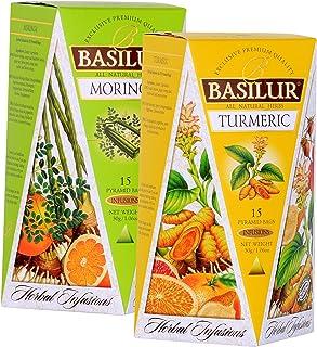 Basilur | Herbal MORINGA & TURMERIC | Herbal Infusions Collection | 100% All Natural Herbal Tea | 15 Count Luxury Pyramid ...