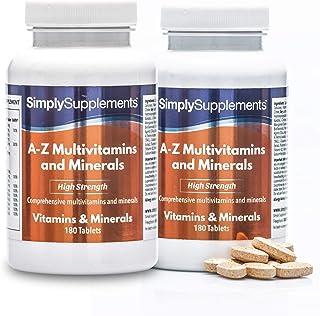 A-Z Multivitaminas y minerales - Con Vitamina C y 30 nutrientes principales - Apto para vegetarianos - ¡Bote para 1 año! - 360 comprimidos