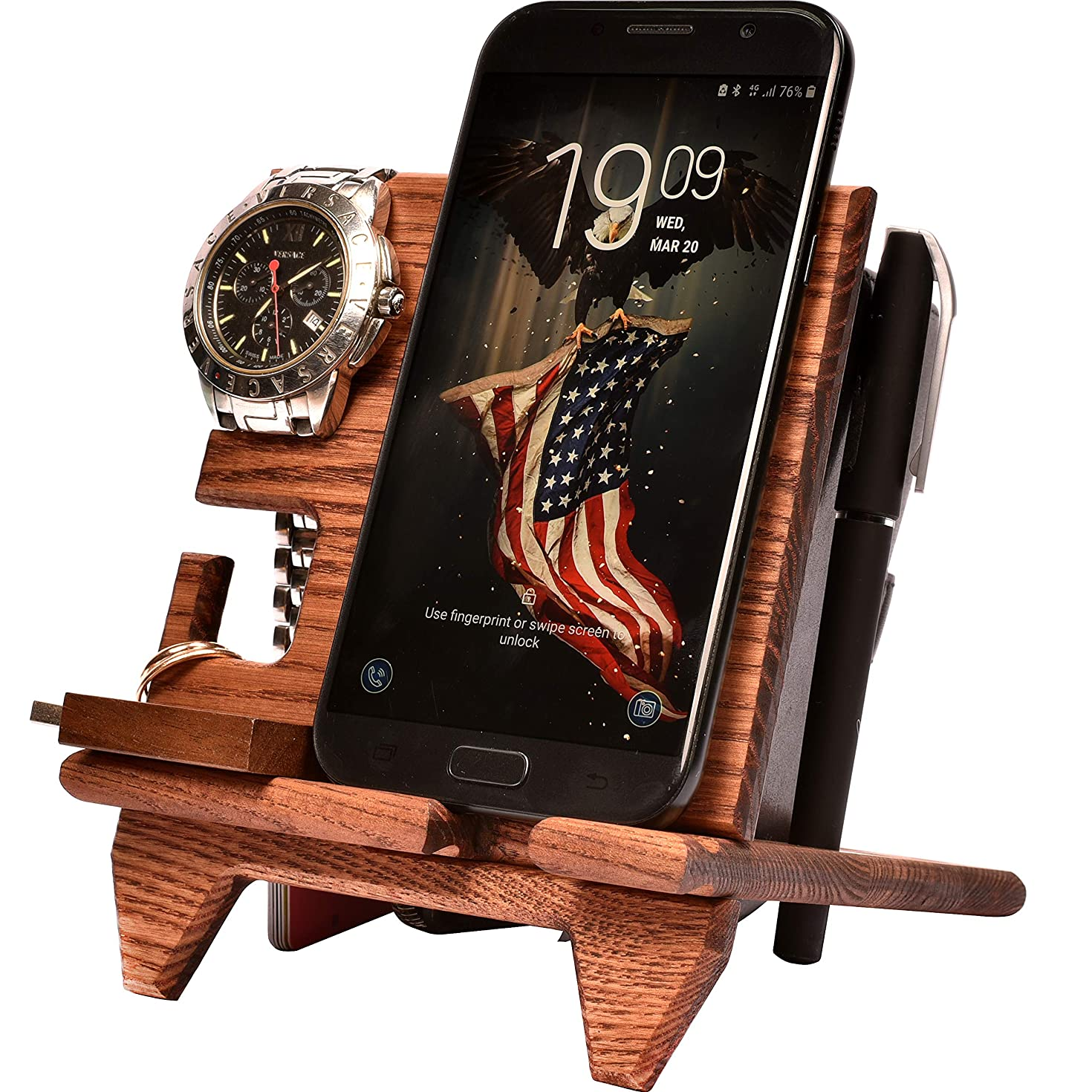 Wood Compact Cell Phone Stand Watch Holder. Men Device Dock Organizer Mobile Base Nightstand Charging Docking Station. Women Accessory Wooden Storage Bed Side Caddy Teen Valet Happy Birthday Gift