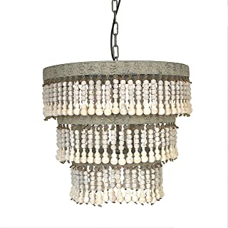 Creative Co-op 3-Tier Round Metal Chandelier with Hanging Wood Beads