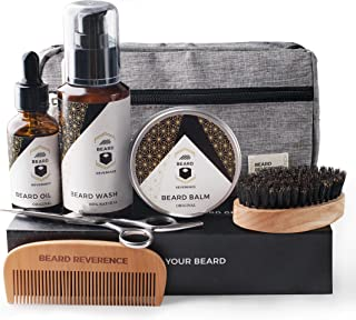 BEARD REVERENCE Premium Beard Grooming Kit for Men Care w/Upgraded Travel Bag – All-Natural Beard Oil, Beard Balm Butter Wax, Beard Wash, Scissors, Comb, Boar Bristle Brush with Gift Set Box