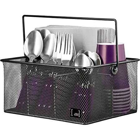 Amazon Com Utensil Holder By Mindspace Kitchen Condiment Organizer And Flatware Utensil Caddy The Mesh Collection Black