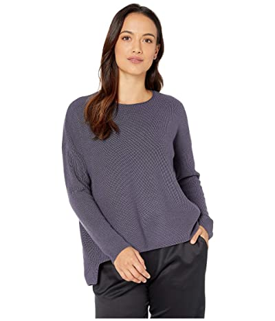 Eileen Fisher Petite Fine Merino Rib Crew Neck Box Top (Blue Shale) Women