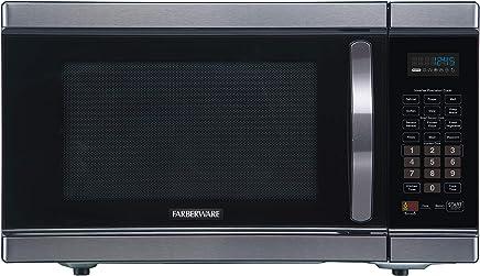 Farberware Black FMO11AHTBSJ 1.1 Cu. Ft 1100-Watt Microwave Oven with Smart Sensor Cooking, Inverter Technology, ECO Mode and LED Lighting, Black Stainless Steel