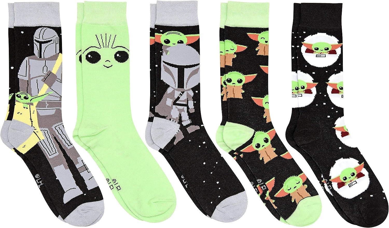 Star Wars Baby Yoda with Mando The Mandalorian Men's Crew Socks 5 Pair Pack