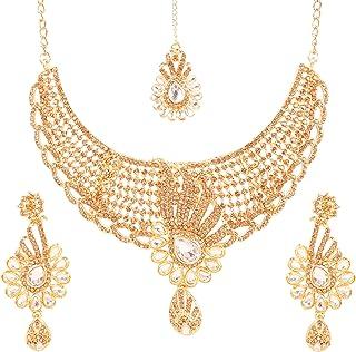Touchstone Indian Bollywood Traditional and Modern Kundan polki Look Rhinestone Grand Bridal Designer Jewelry Necklace Set...