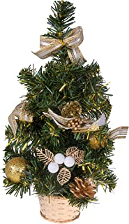 Clever Creations Mini Artificial Christmas Tree with Pinecone, Ribbon, and Ball Ornaments Gold Christmas Decor Theme   Decoration for Home and Office   12