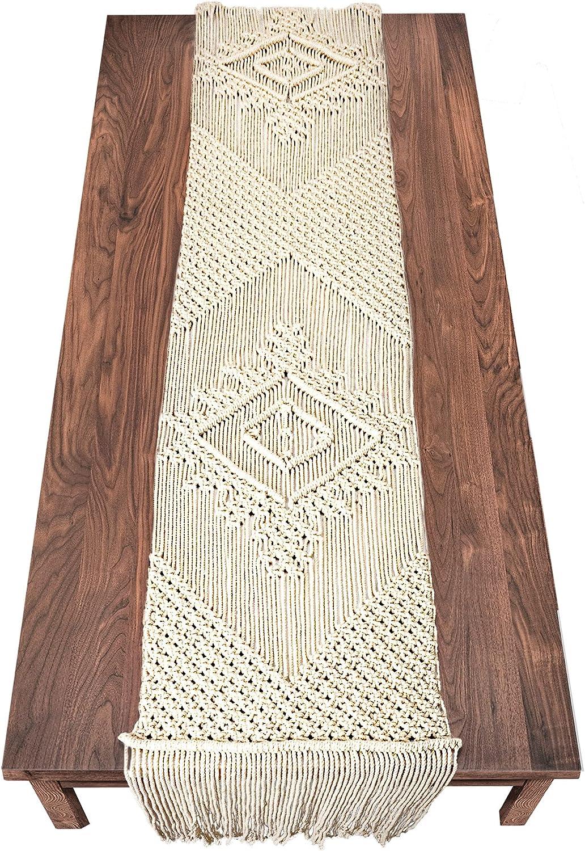 LIVALAYA Macrame Table Runner 86 x 100% quality warranty Boho Handwoven We 13.5 Inches Luxury goods