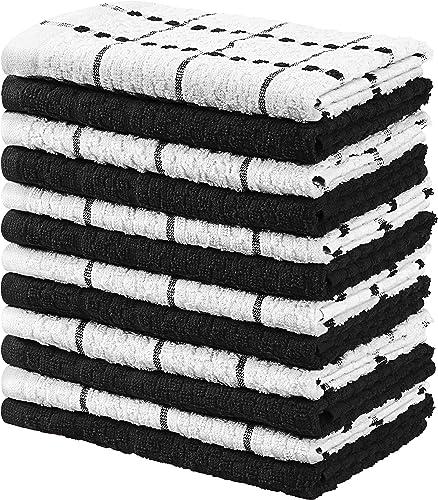 Utopia Towels Kitchen Towels (12 Pack) Cotton - Machine Washable - Extra Soft Set of 12 Black White Dobby Weave Dish ...