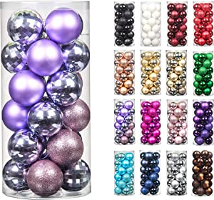 24pcs 2.36in Christmas Decoration Balls Shatterproof Color Set Ornaments Balls for Festival Wedding Home Party Decors Xmas Tree Hanging (Lavender Purple)