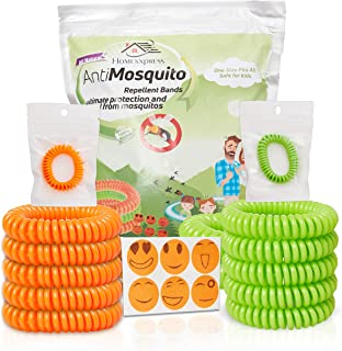 Mosquito Repellent Bracelets -10 Pack Resealable Wristbands[ Up To 350 Hours]24 Patches Give More Protection - 7 Natural Oils - Bug And Insect Spray,Eradicator - Waterproof,DEET-Free - Kid Safe