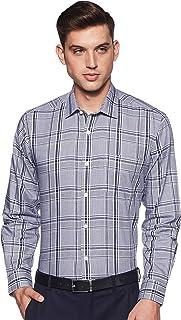 Amazon Brand - Arthur Harvey Men's Checkered Regular Fit Full Sleeve Cotton Formal Shirt