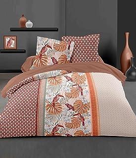 Home Linge Passion, Housse de Couette - 3 Pièces, 100% Coton - 57 Fils, 2 Personnes - 220x240 cm, Cerrado Terracota