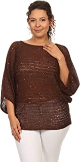 C.O.C. Curve Women Plus Size Sequin Embellished Solid Knit Sweater