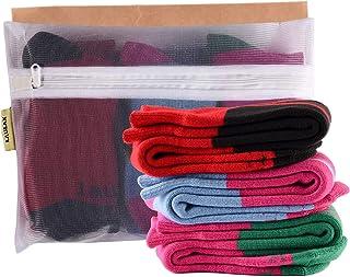 Laulax, Juego de 3 pares de calcetines de esquí para niñas, diseño de cachemira, color rojo, rosa y azul