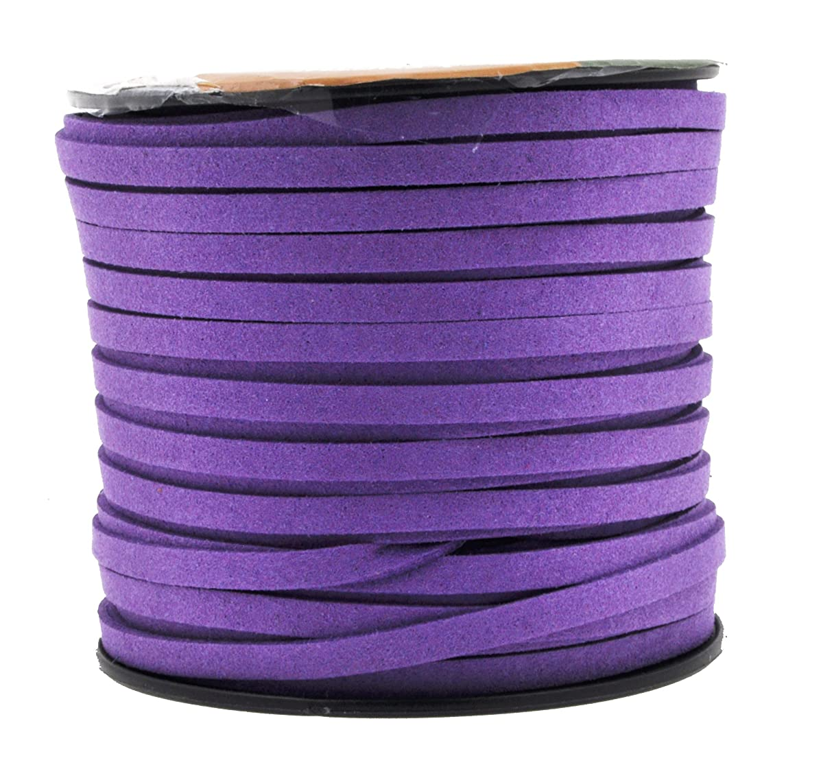 Mandala Crafts 50 Yards 5mm Wide Jewelry Making Flat Micro Fiber Lace Faux Suede Leather Cord (5mm, Violet)