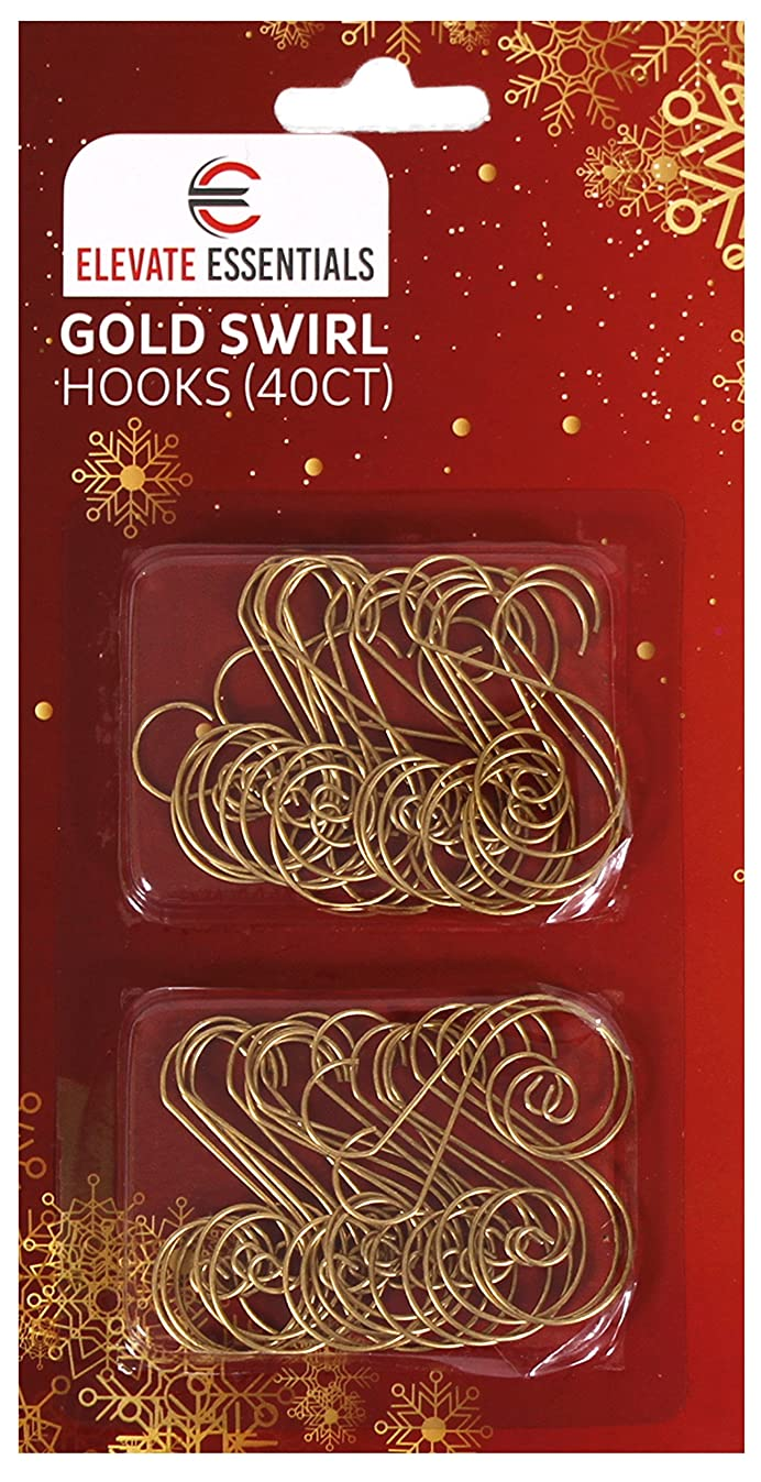 Elevate Essentials Swirl - Gold S Ornament Hooks - Decorative Ornament Hangers (Gold) 40ct