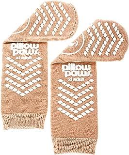 XL Tan Slip Stop Socks (Double Tread) (Terrycloth) (Extra Large) (4 Pairs)