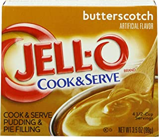 JELL-O Butterscotch Cook & Serve Pudding & Pie Filling Mix (3.5 oz Boxes, Pack of 24)