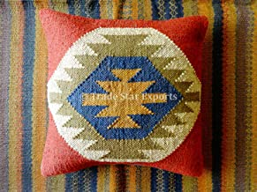 Trade Star Exports Indian Kilim Pillow Cover 18x18, Boho Jute Outdoor Cushions, Decorative Throw Pillow Cases, Handwoven Boho Cushion Cover, Pillow Shams