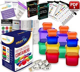 21 Day Portion Control Containers Kit - Nutrition Diet, Multi-Color Coded Weight Loss System. Complete Guide + PDF Planner + Recipe eBook and Tape Measure - BPA Free - 14 PC