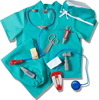 Child's Halloween Doctor Dress up Surgeon Costume Set and Accessories Blue