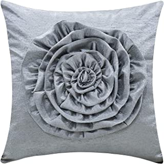 The White Petals Silver Gray Cushion Cover (3D Flower, 12x12 inch, Pack of 1)