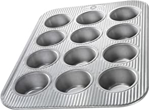 USA Pan (1200MF) Bakeware Cupcake and Muffin Pan, 12 Well, Nonstick & Quick Release Coating, Made in The USA from Aluminiz...