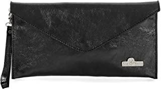 Women's Leather Wristlets Clutch Bag in Envelope Shape - 100% Italian Leather with Long Shoulder Strap