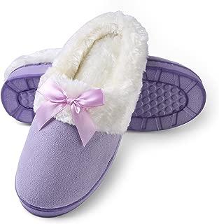 Women's Micro Suede Plush Fleece Lined Memory Foam Slip on Clog Houser Slipper