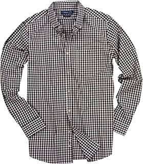 Men's Stretch Fit Gingham Plaid Button Down Long Sleeve Shirt