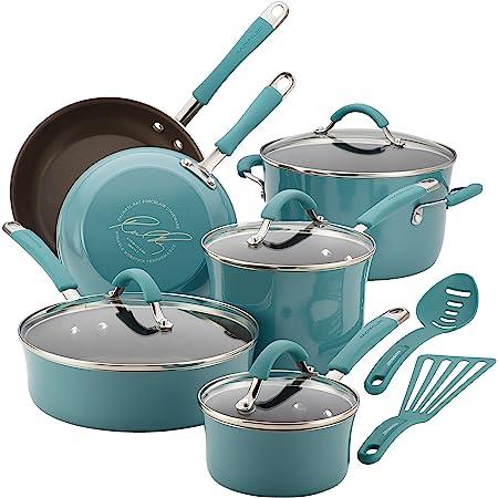 Rachael Ray Cucina - Batería de cocina antiadherente, porcelana dura, 12 piezas, Azul Aqua