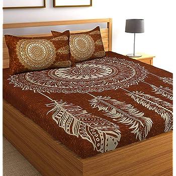 Tiger Exports Cotton 144 TC Bedsheet (Brown_King)