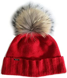 Chic and Classy Cashmere Beanie Hat for Women with Detachable Genuine Raccoon Fur Pom CSH-804RN