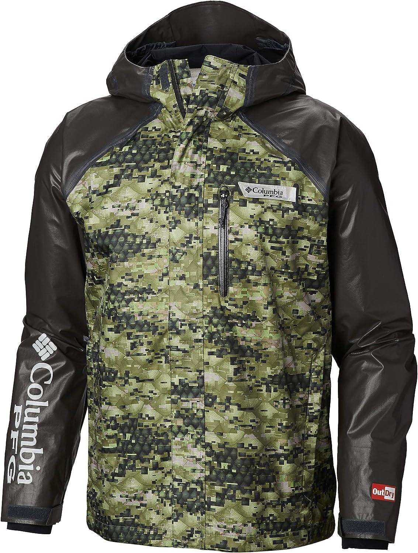 Columbia Men's PFG Terminal Outdry Hybrid Jacket, Cypress Digi Scale Print, Large