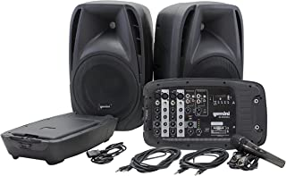 Gemini ES Series ES-210MXBLU Professional Audio Portable PA System with Two 10