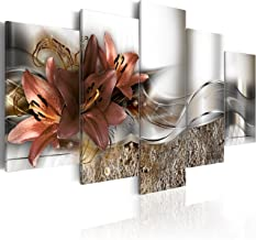 murando - Cuadro Flores Lirios 200x100 cm - impresión de 5 piezas - material tejido no tejido - impresión artística - imagen gráfica - decoracion de pared - Naturaleza Abstracto - Abstracto b-A-0273-b-n