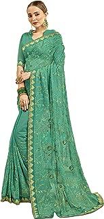 Indian Women Designer Ethnic Wedding Georgette Party Wear Saree Blouse S7727 Sea Green