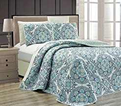 Mk Collection 3pc Queen Oversize Reversible Quilted Bedspread Set Floral Light Blue White Gray Navy Blue New
