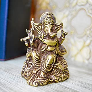 Aakrati Brown Finish Small Ganesha with Flute for Showpiece and Gift - Indian Hindu Religious Gift