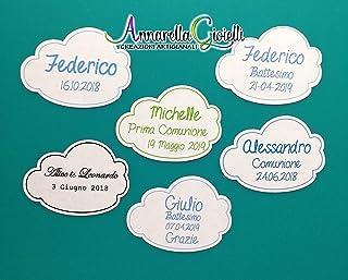 Adesivi personalizzati Nuvoletta, a partire da 20 pezzi, etichette matrimonio, battesimo, thank you stickers, grazie, comu...