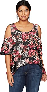 Star Vixen Women's Plus Size Cold Shoulder Dramatic Ruffle Peasant Top