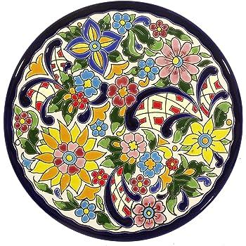 Grabado y Cerámica Española Platos Decorativos para Pared, Pintados a Mano con la técnica de la Cuerda Seca. Cerámica Andaluza 21 CM.52103: Amazon.es: Hogar