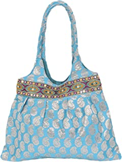 Exotic India Brocaded Shopper Bag with Woven Paisleys and Embroidered Patch Border