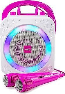 RockJam 10 W ładowalne urządzenie do karaoke Bluetooth z dwoma mikrofonami, efekty zmiany głosu i diody LED