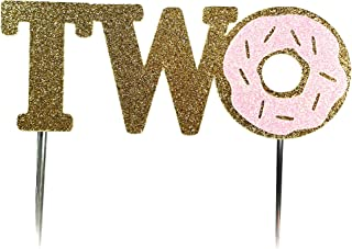 CMS Design Studio Handmade 2nd Donut Birthday Cake Topper Decoration - Two - Double Sided Gold Pink Glitter Stock